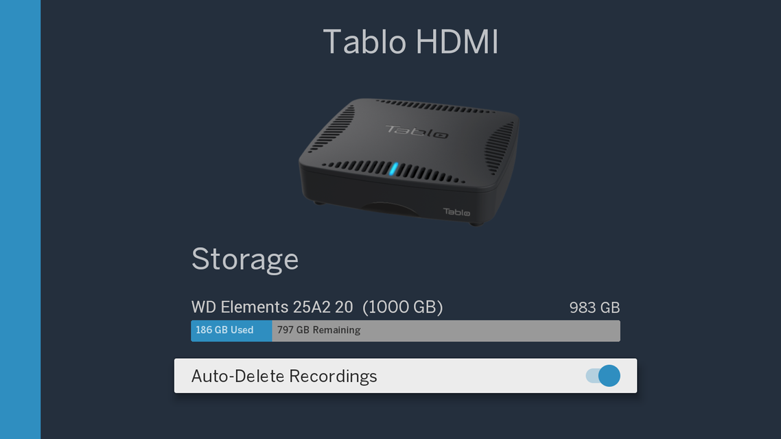 Tablo DUAL HDMI storage settings