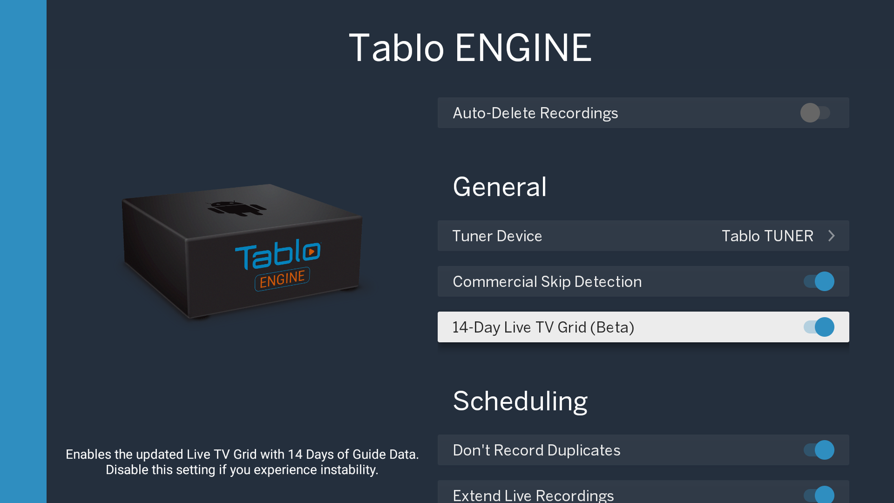 Tablo ENGINE Settings