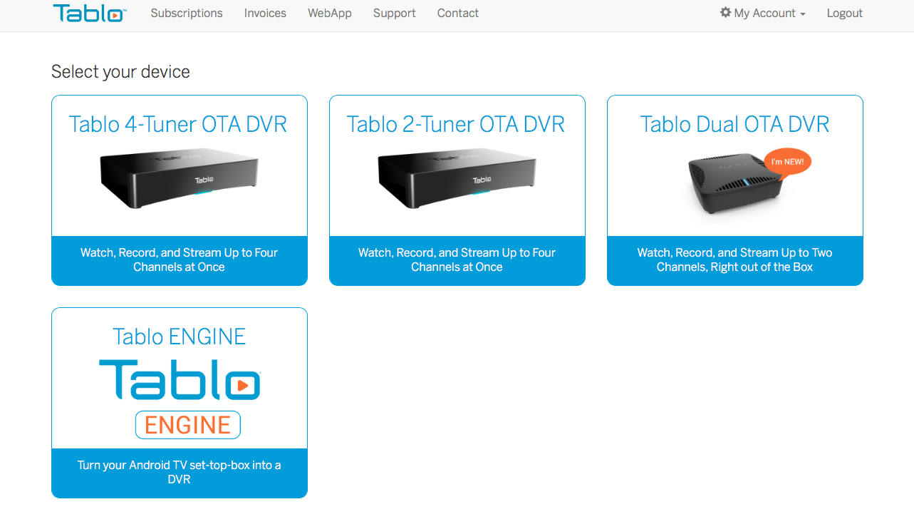 tablo subscription product selection