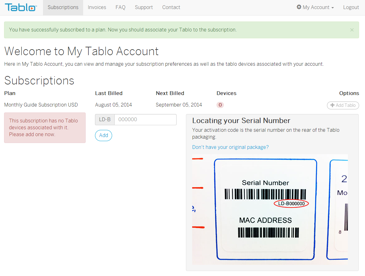 Activate Tablo subscription