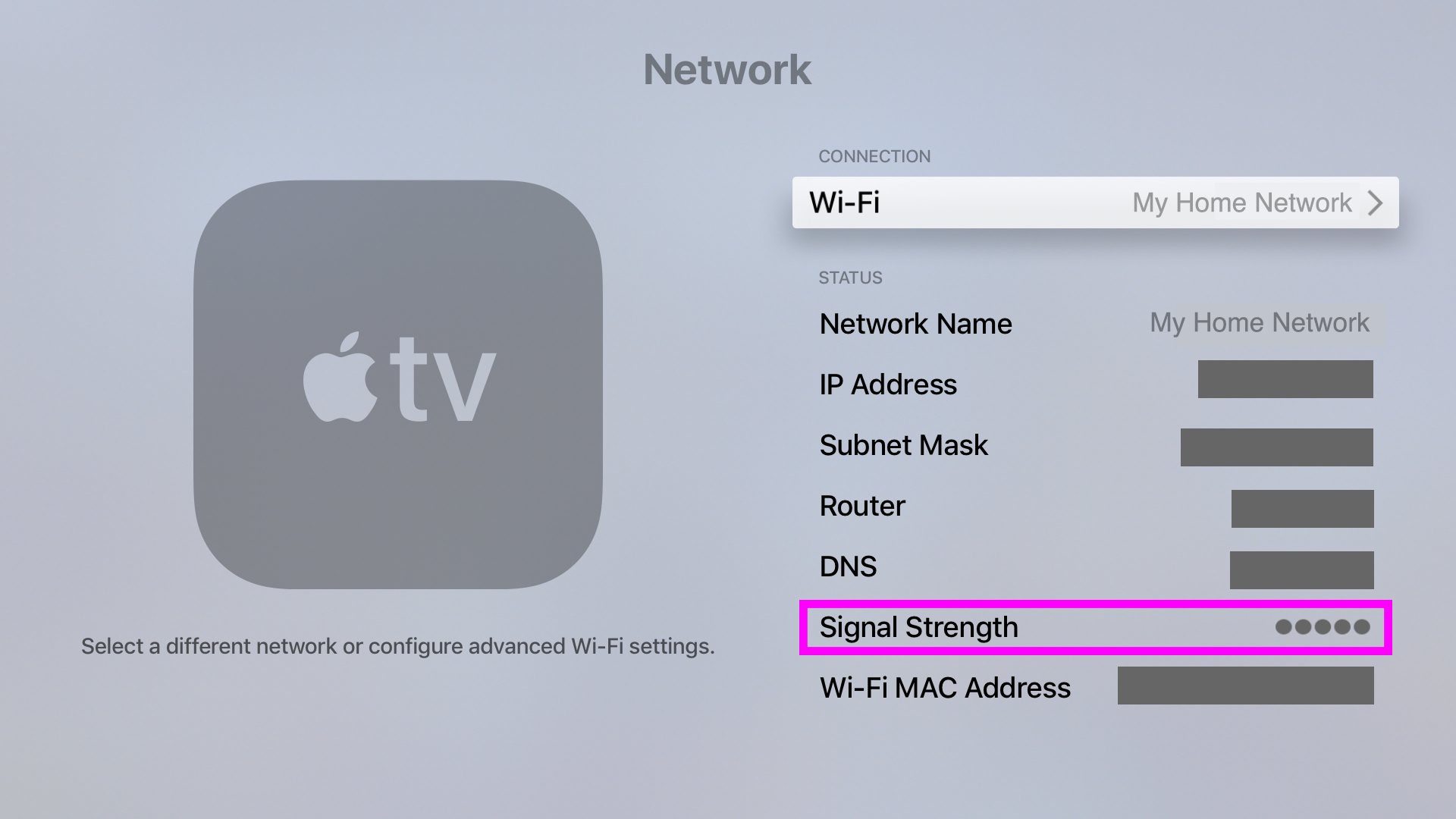 apple tv wifi network quality