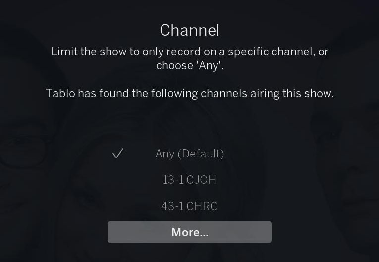 tablo channel select