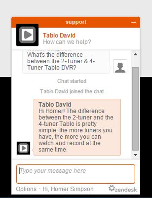 Tablo chat window
