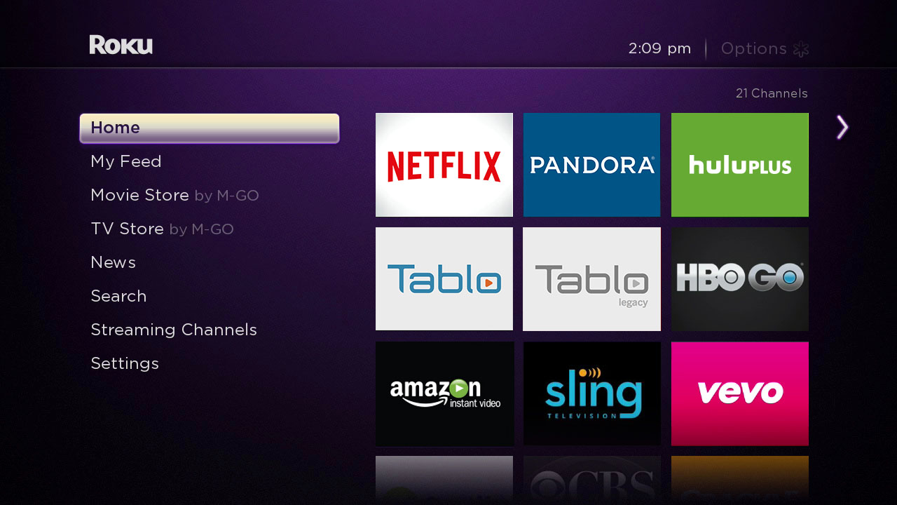 Roku home screen Tablo public legacy