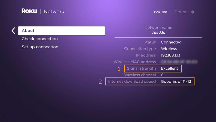 roku wifi network quality