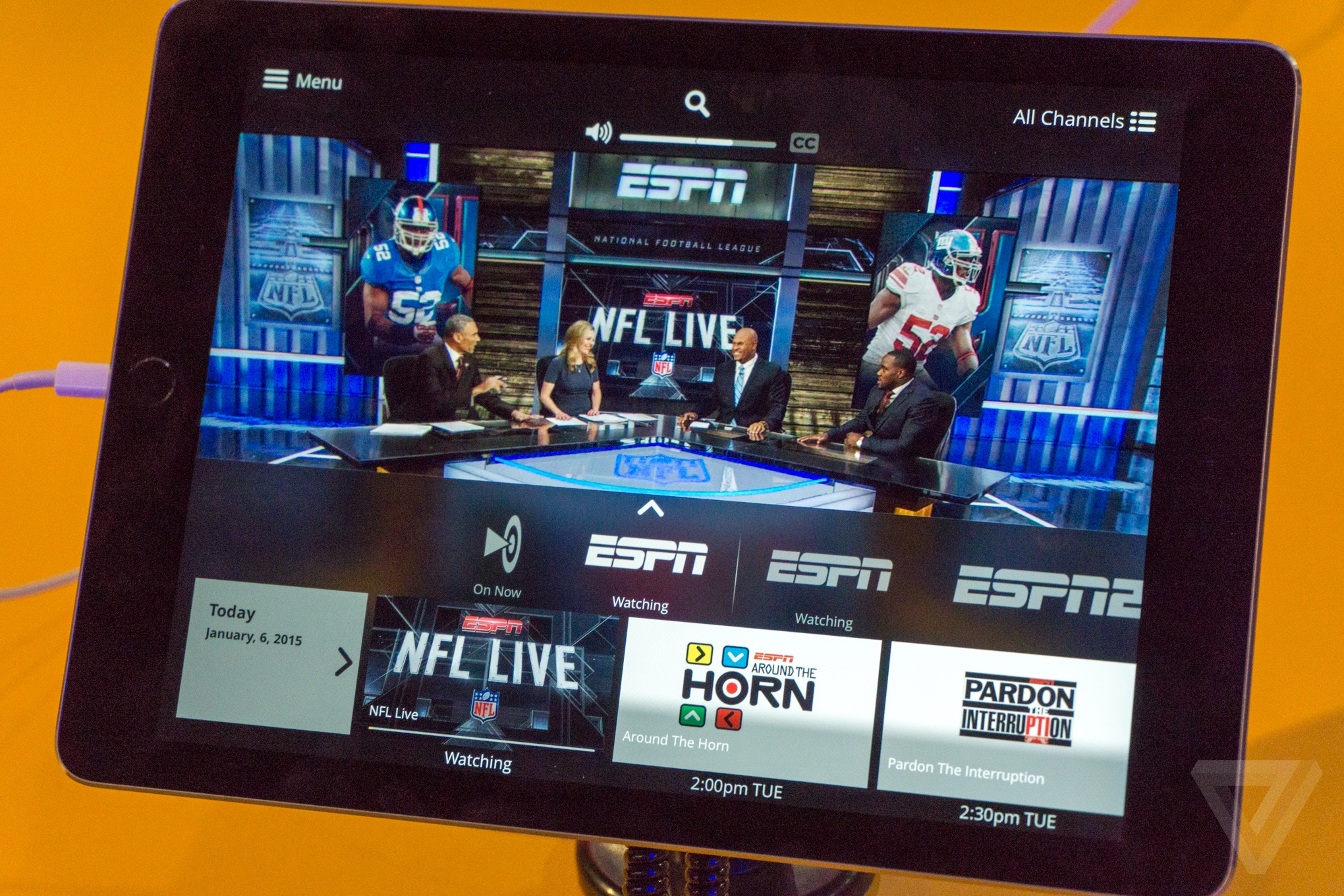 Sling TV tablet interface