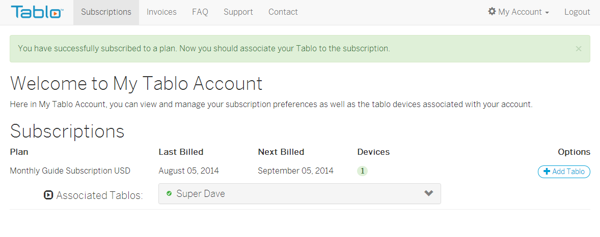 Tablo Active Subscription