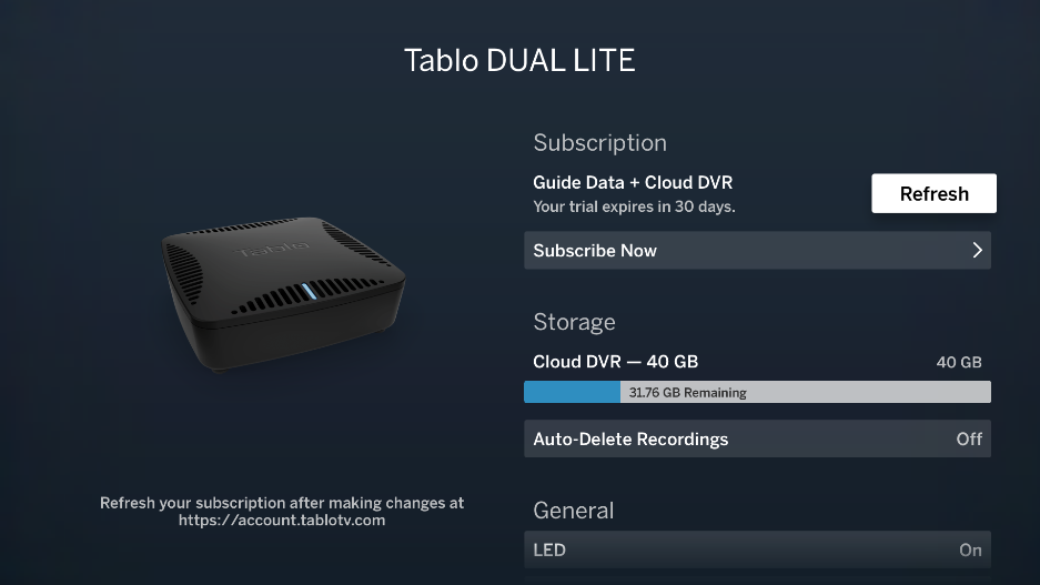 tablo cloud dvr details