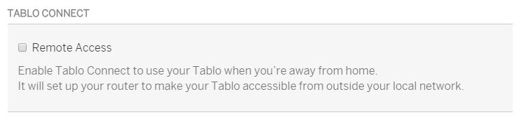 Tablo Connect Checkbox