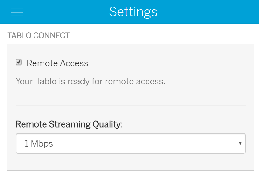 tablo connect settings