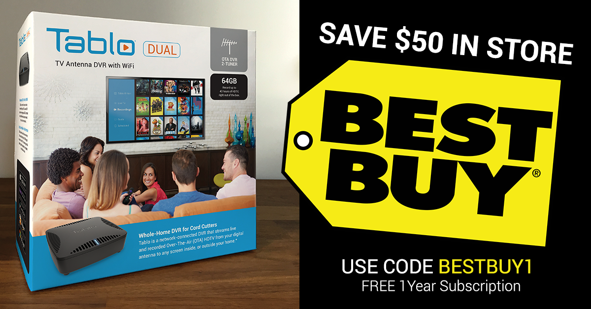 DEAL ALERT: Tablo DUAL $50 OFF In Store At Best Buy + 1 Year Guide Data  Subscription FREE | Over The Air (OTA) DVR | Tablo