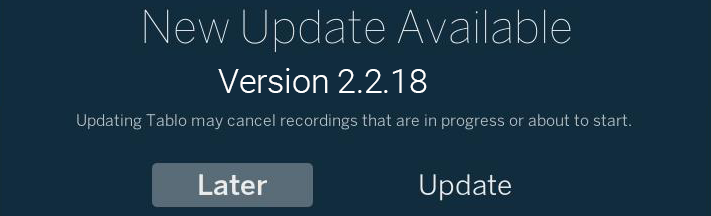 tablo firmware update 2218