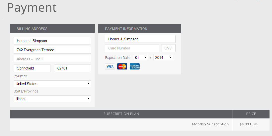 Tablo payment screen