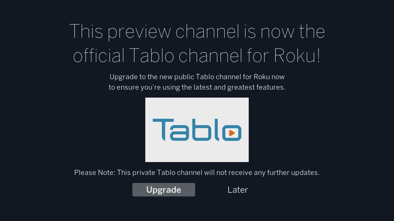 Tablo Roku transition