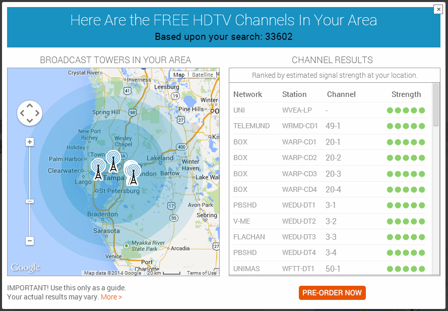 Digital Antenna Reception Map Canada What Channels Can I Get?   Introducing the Tablo TV Signal Locator
