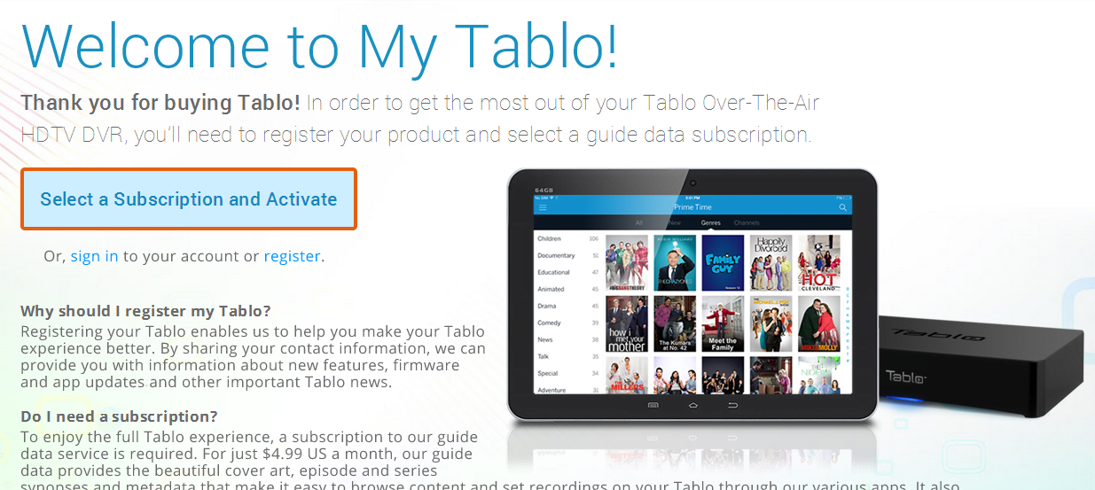 Tablo subscription portal
